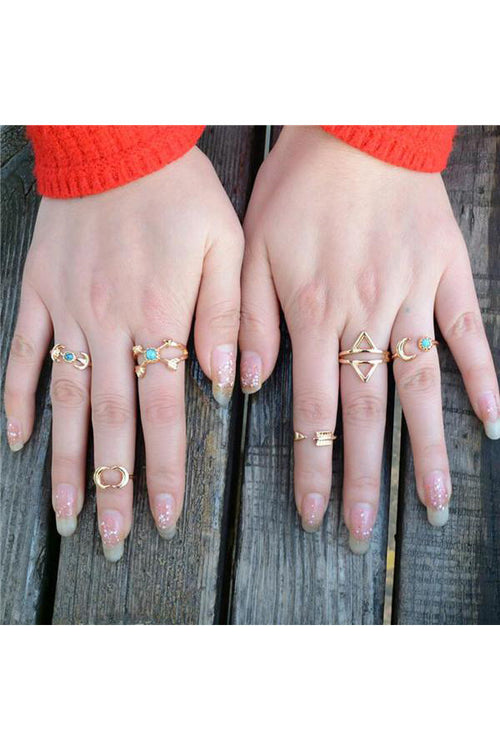 Callisto Midi Ring Set- Gold