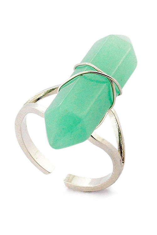 Green Jade Point Ring