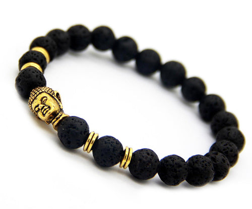 Lava Rock & Antique Gold Buddha Bracelet