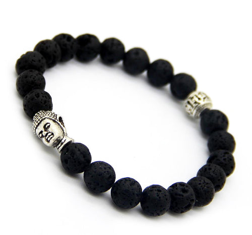Lava Rock & Antique Silver Buddha Bracelet