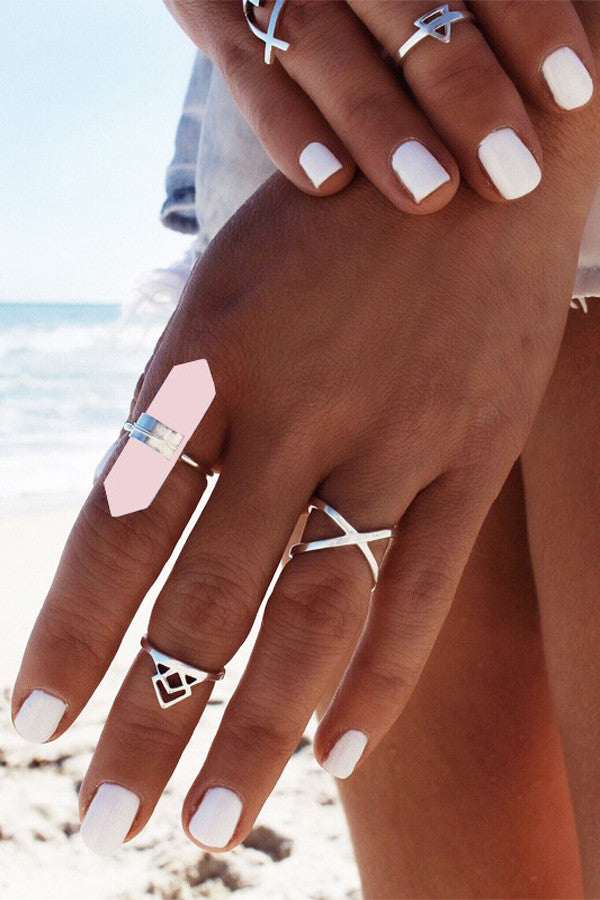 Rose Quartz OM Ring Set- 6 Pieces Karma Mantra  - Karma Mantra