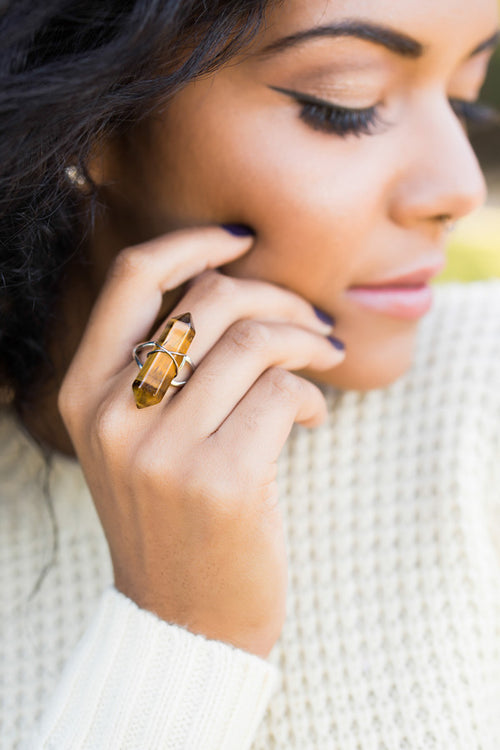 Tiger Eye Point Ring