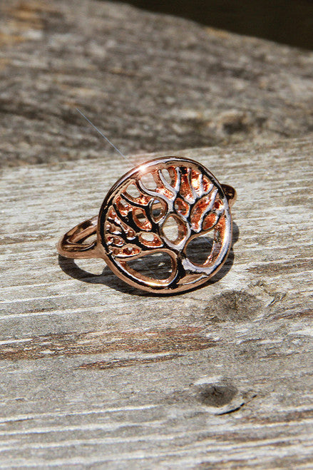 Tree Of Life Ring- Rose Gold Karma Mantra  - Karma Mantra