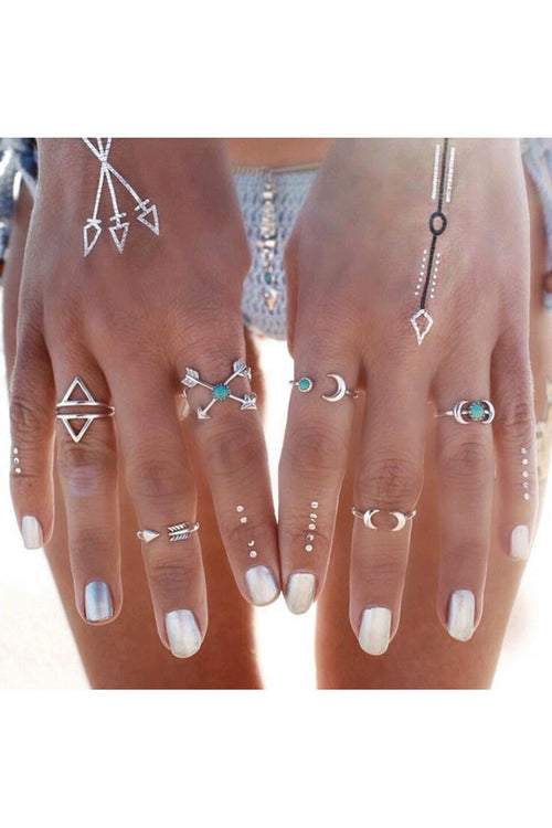 Callisto Midi Ring Set- Silver