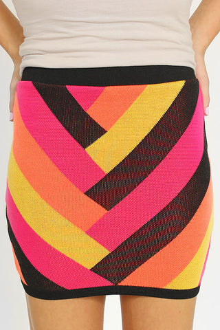 Neon Chevron Skirt