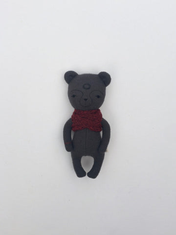 woolen bear soft toy – dark grey with red scarf