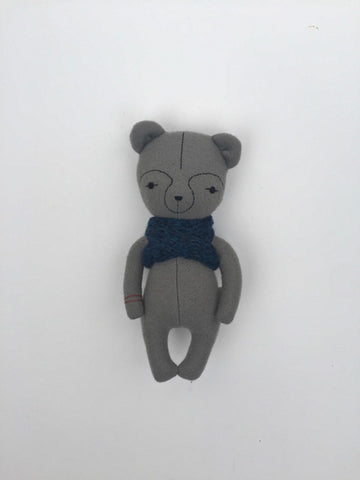 woolen bear soft toy – light grey with blue scarf