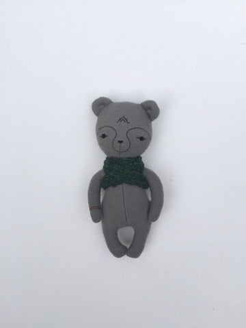 woolen bear soft toy – light grey with green scarf