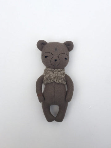 woolen bear soft toy – taupe with oatmeal scarf