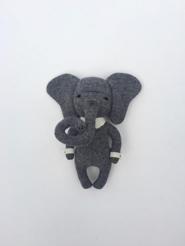 woolen elephant soft toy – charcoal grey