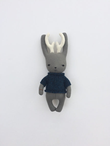 woolen jackalope soft toy – light grey with blue sweater