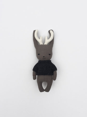 woolen jackalope soft toy – taupe with charcoal grey sweater