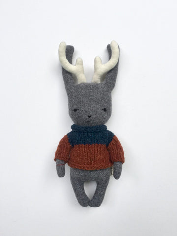 woolen jackalope soft toy – charcoal grey with orange and blue sweater