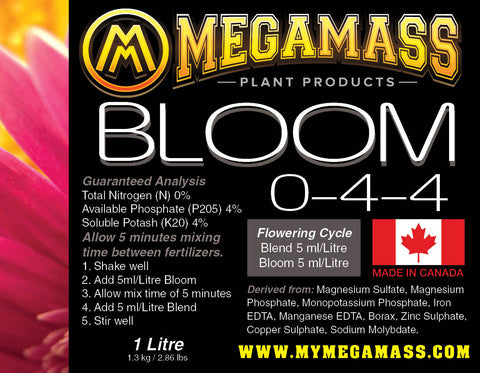 Mega Mass - Bloom, Mega Mass Plant Products, IncrediGrow, IncrediGrow - Grow, Cannabis, Microgreens, Fertilizer, Calgary, Airdrie, Quickgrow, Amazing, Ecolighting,