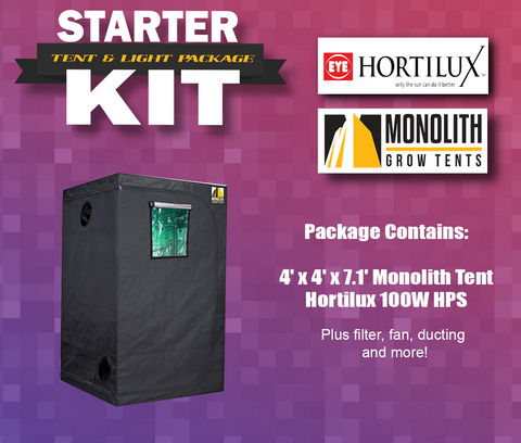 Starter Kit: 4 x 4 Tent Package Monolith Tent feat. Hortilux