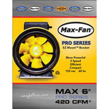 "Max-Fan 6"" Pro Series Inline Fan, Fans, Ducting & Air Purification, IncrediGrow, IncrediGrow - IncrediGrow"