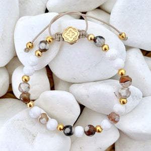 Fire Agate & Mother of Pearl Bracelet - Gold-Goldoni Milano