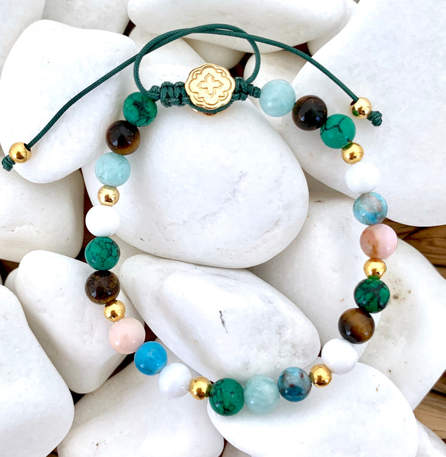Turquoise & Tiger Eye & White Shell & Blue Apatite & Aquamarine & Rhodonite Bracelet - Gold-Goldoni Milano