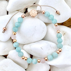 Aquamarine & Rose Quartz Bracelet - Rose Gold-Goldoni Milano