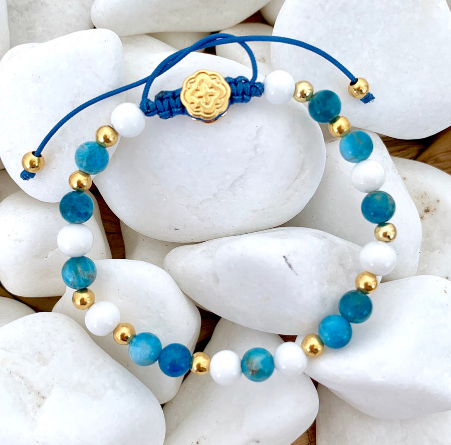 Blue Apatite & White Shell Bracelet - Gold-Goldoni Milano