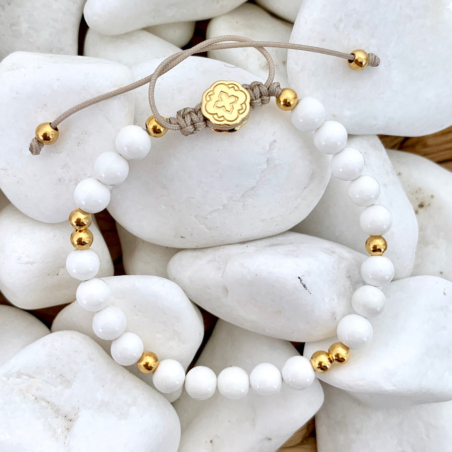 White Shell Bracelet - Gold-Goldoni Milano
