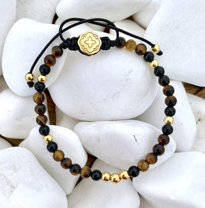Mini Tiger Eye Bracelet - Gold-Goldoni Milano