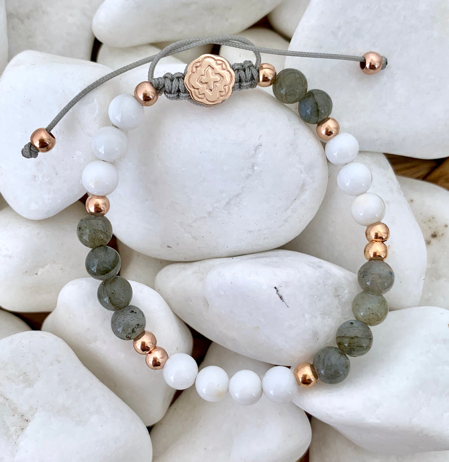 Labradorite & Mother of Pearl Bracelet - Rose Gold-Goldoni Milano