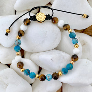 Blue Apatite & Tiger Eye & White Shell Bracelet - Gold - Goldoni Milano