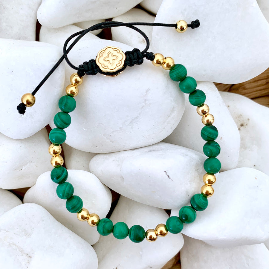 Malachite Bracelet - Gold-Goldoni Milano