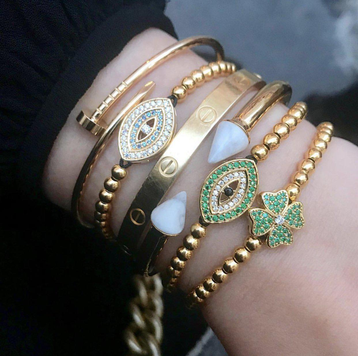 Emerald Evil Eye Bracelet - Gold