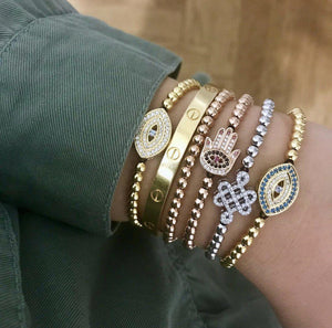 White Evil Eye Bracelet - Gold-Goldoni Milano