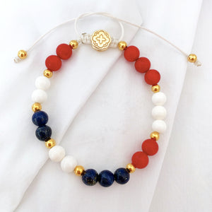 Red Bamboo Coral, White Shell, and Lapis Lazuli Bracelet - Gold-Goldoni Milano
