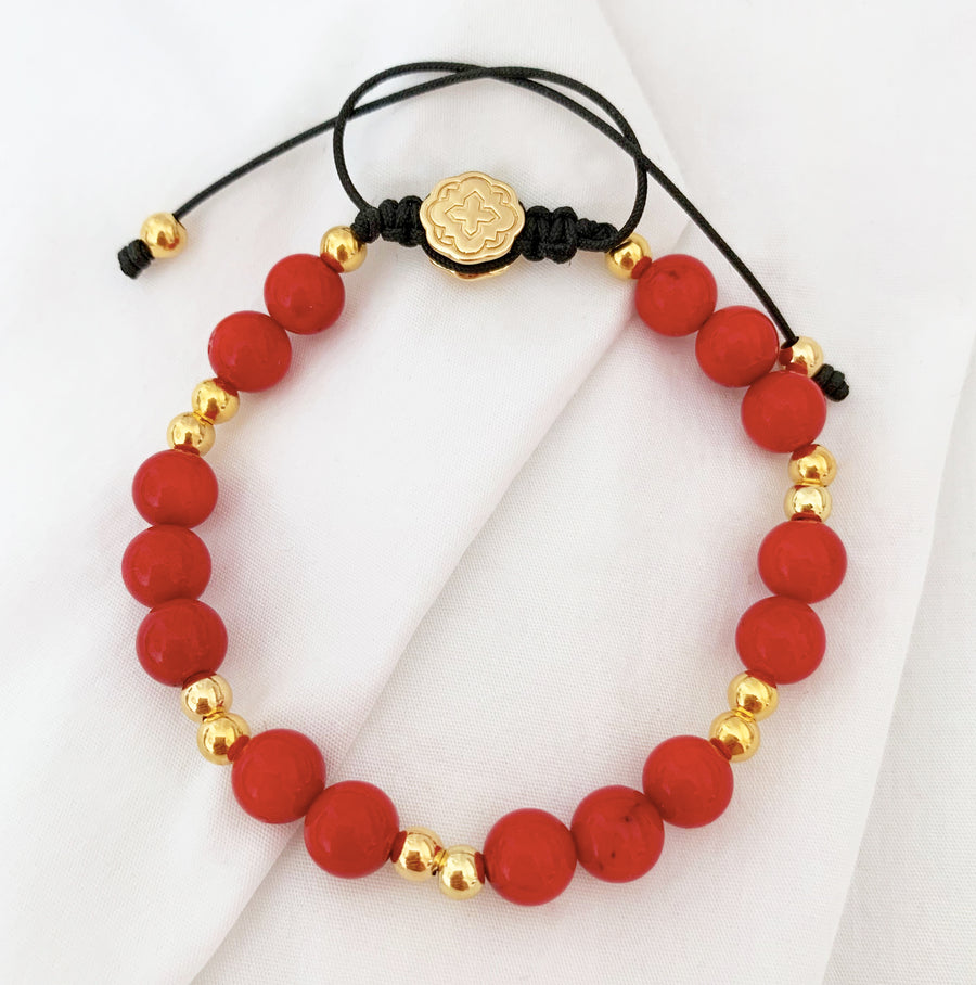 Red Bamboo Coral Bracelet - Gold-Goldoni Milano
