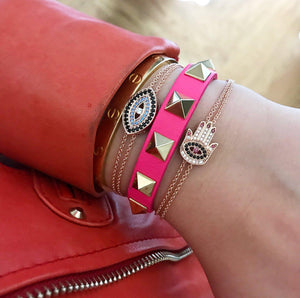 Red Nails Hamsa Chain Bracelet - Rose Gold - Goldoni Milano