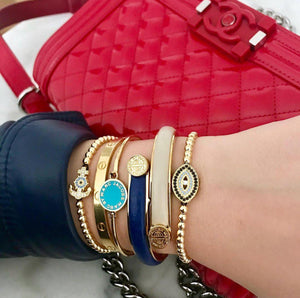 Blue Evil Eye Bracelet - Gold-Goldoni Milano