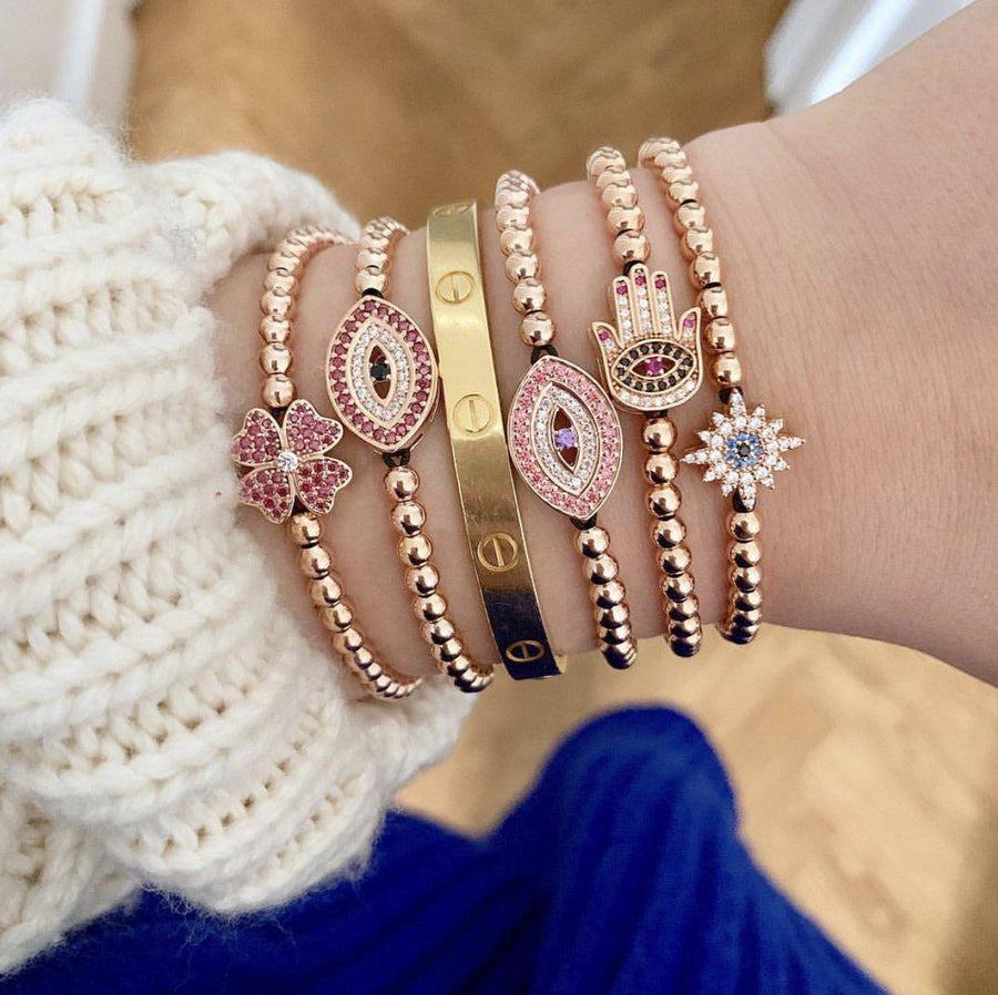 Pink Evil Eye Bracelet - Rose Gold-Goldoni Milano