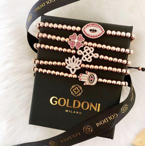 Red Four Leaf Clover Bracelet - Rose Gold - Goldoni Milano