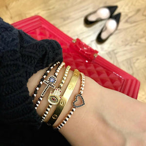 Red Nails Hamsa Bracelet - Gold-Goldoni Milano