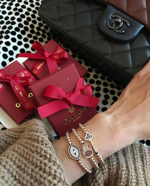 Red Nails Hamsa Bracelet - Rose Gold - Goldoni Milano
