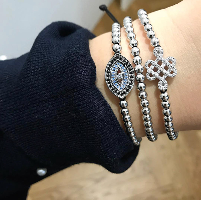 Blue Evil Eye Bracelet - Rhodium-Goldoni Milano
