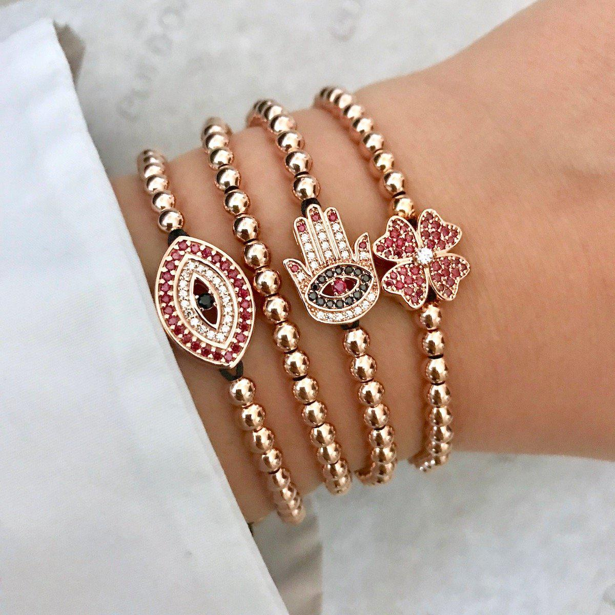 Red Evil Eye Bracelet - Rose Gold