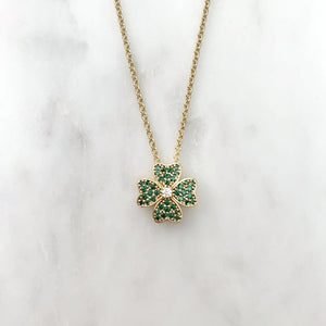 Green Four Leaf Clover Necklace - Gold