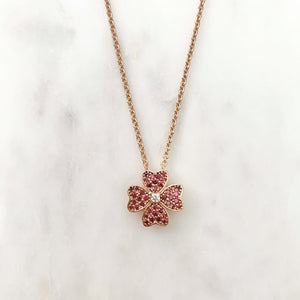 Red Four Leaf Clover Necklace - Rose Gold