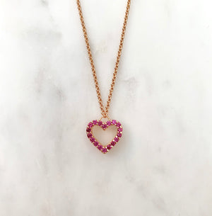 Hot Pink Heart Necklace - Rose Gold