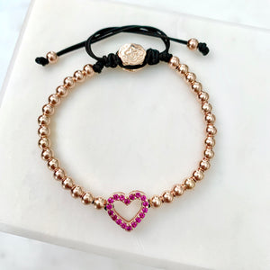 Hot Pink Heart Bracelet - Rose Gold