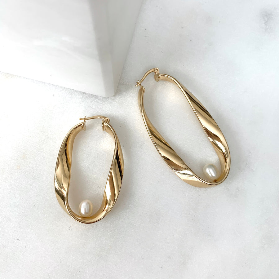Perfectly Imperfect Mono Pearl Hoops
