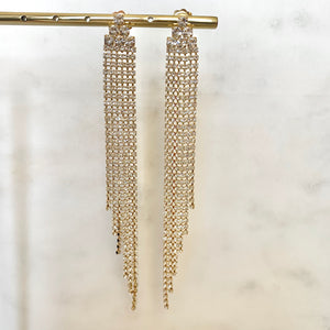 Asymmetrical Crystal Dripping Statement Earrings