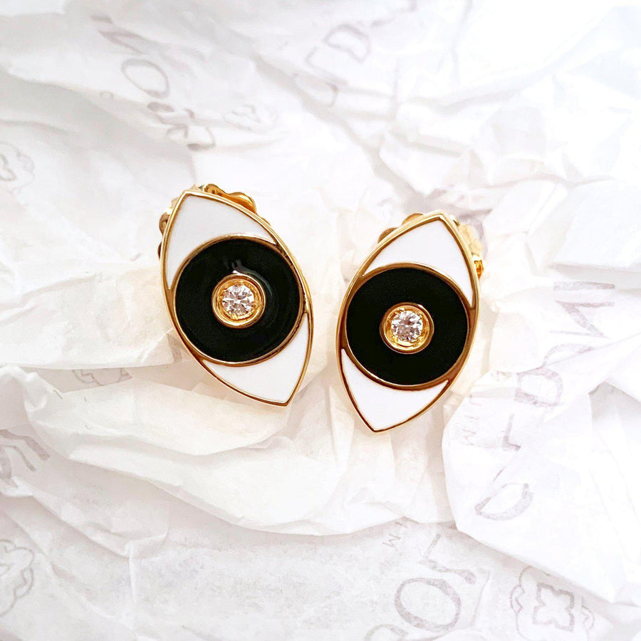 Black Enamel Evil Eye Earrings - Gold - Goldoni Milano