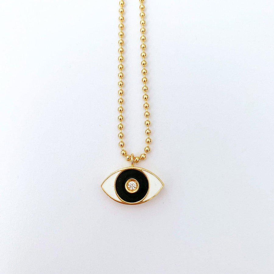 Black Enamel Evil Eye Necklace - Gold