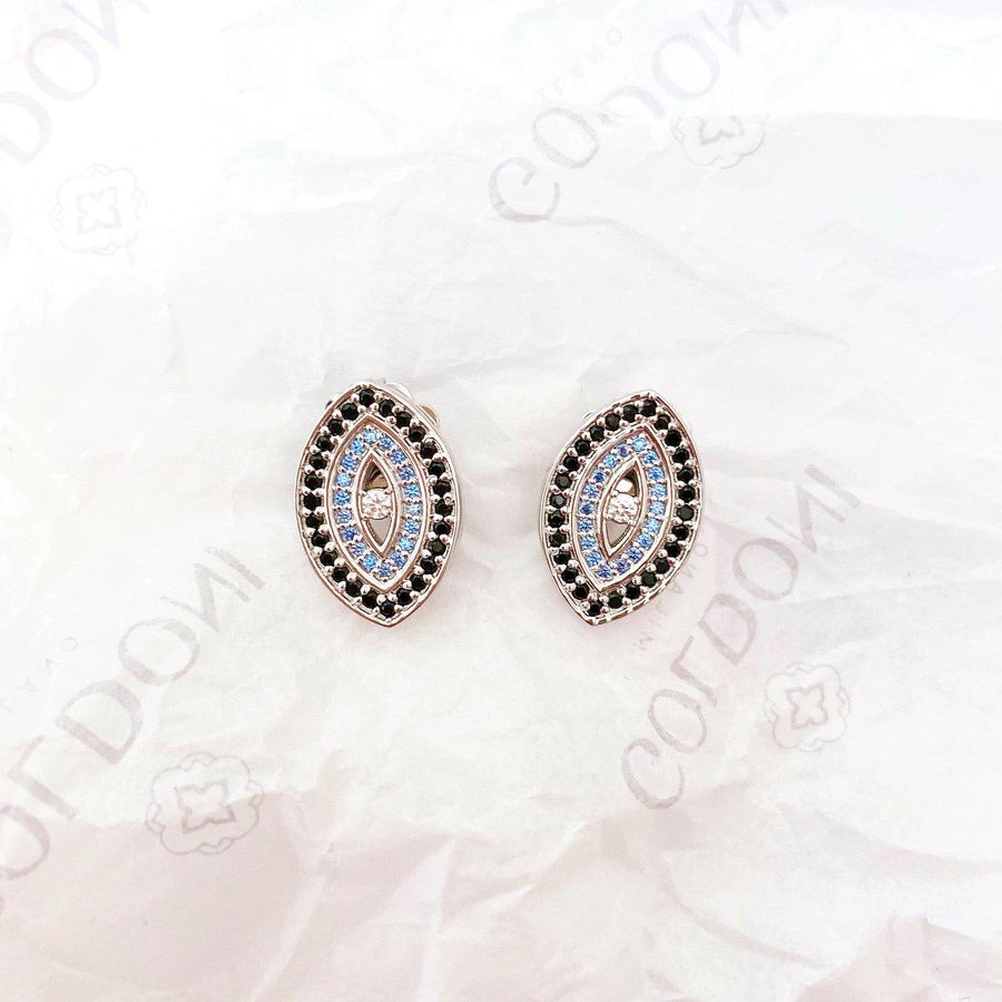 Blue Evil Eye Earrings - Rhodium - Goldoni Milano